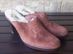 Ugg brown suede leather sheepskin heeled backless mule clog shoes womens size 8 #UGGAustralia #Clogs #Casual