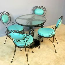Woodard Chantilly Rose Pedestal Glass Top Patio Table 4 Chairs Dining vintage