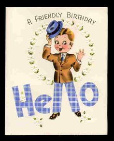 Vintage Birthday Greeting CARD CHEERY HELLO by vintagerecycling