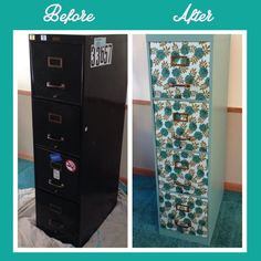 before and after of filing cabinet re-do.  Love this.