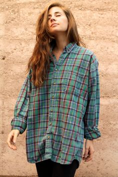 89aff8870d80a 90s nirvana GRUNGE plaid FLANNEL oversized button up down shirt crossover  Oversized Shirt Outfit