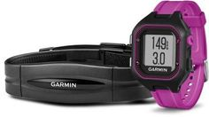 Garmin Forerunner 25 GPS Fitness Watch with Heart Rate Monitor - Small - Black/Purple Running Gps, Running Watch, Garmin Vivosmart Hr, Best Fitness Watch, Fitness Watches For Women, Waterproof Fitness Tracker, Heart Rate Monitor, Sport Watches, Women's Watches