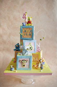 Winnie the Pooh Blocks birthday cake Cupcakes, Cupcake Cakes, Gorgeous Cakes, Amazing Cakes, Winnie The Pooh Cake, Friends Cake, Disney Cakes, Novelty Cakes, Fancy Cakes