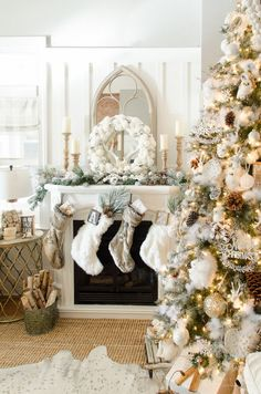 Looking for for inspiration for farmhouse christmas tree? Browse around this website for amazing farmhouse christmas tree pictures. This kind of farmhouse christmas tree ideas seems totally superb. Silver Christmas Decorations, Christmas Mantels, Christmas Tree Themes, Christmas Ideas, Holiday Ornaments, Christmas Villages, Vintage Ornaments, Vintage Santas, Christmas Cards