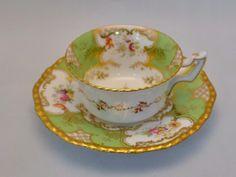 Lovely Antique Coalport Green Batwing Cup & Saucer. Handpainted ie.picclick.com