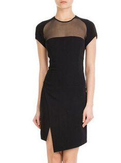 Black Short Sleeve Sheer Mesh Asymmetrical Dress -SheIn(abaday)