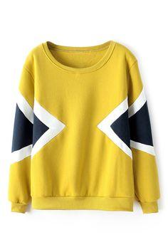 Color Block Yellow Fleece Sweatshirt 23.17