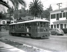 9 Line streetcar on Griffin Ave, Montecito Heights 1948 Vintage Trains, Jack Finn, Los Angeles County, Train Tracks, Historical Society, Back In The Day, Bel Air, Buses, Beverly Hills