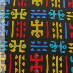 Bright Tribal on Black Cotton Jersey Knit Fabric