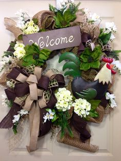 Rooster Wreath, Summer Wreath, Burlap Wreath, Rooster Decor, Mesh Wreath