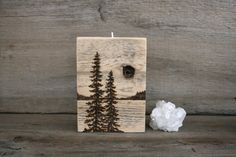 Pine Trees Reclaimed Wood Candle Holder Wood by TwigsandBlossoms, $38.00