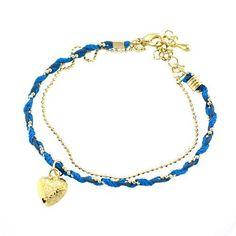"""Fashion Heart Charm Link Bracelet; 6""""L With 2"""" Extension Chain; Gold Metal; Blue Braided Cord; Lobster Clasp Closure; Eileen's Collection. $16.99"""