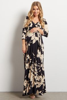 Next time you're looking for the perfect date night look, search no further. This draped maternity maxi dress has you covered. A flattering style and printed, versatile design like this will have you looking and feeling beautiful as the night goes on. Great not only for you expecting mothers, but easily transitions into motherhood with a draped v-neckline, perfect for nursing.