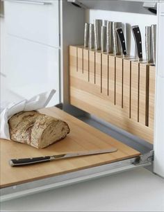 built-in knife holder & pull down cutting board