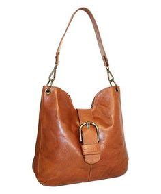 Nino Bossi Handbags Cognac Trisha Leather Hobo | zulily #leatherhandbags
