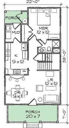 Narrow Lot Bungalow Home Plan Floor Master Suite CAD Available Cottage Craftsman Narrow Lot PDF Photo Gallery Architectural Designs Bungalow Homes, Bungalow House Plans, Craftsman House Plans, Modern House Plans, Small House Plans, House Floor Plans, Small Log Cabin Plans, Bungalow Designs, Master Suite