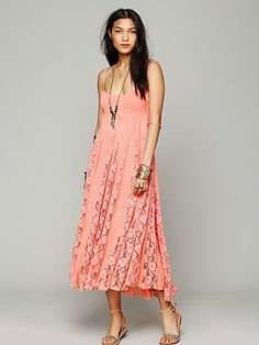 FP ONE Victorian Lace Dress ~ rayon summer dress in coral