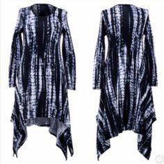 Erin Tie Die Dress Asymmetrical black and white tie die dress  Lightweight | Long sleeve | nice semi relaxed fit   Made in U.S.A   96% polyester  4% Lycra   Bundle 2+ items and save 15%! Classic Woman Dresses Asymmetrical