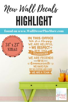 Office wall vinyl decal decor ~ Positive work environment affirmation ~ Inspire your staff, impress your customers!