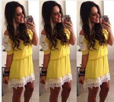 Resultado de imagem para look vestido amarelo curto