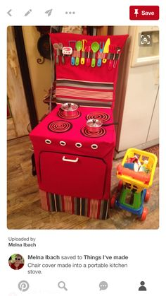 Chair cover made into a portable kitchen stove. Sewing Projects For Kids, Sewing For Kids, Baby Sewing, Diy For Kids, Crafts For Kids, Kitchen Chair Covers, Card Table Playhouse, Diy Kids Kitchen, Childrens Kitchens