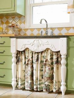 Country style under-sink curtain with table leg frame