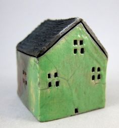 Stop // No // You are killing me // Green Cottage // Raku Fired Miniature House // by elukka on Etsy, €20.00 // Just two inches tall // For indoor miniature moss garden.