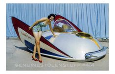 New Hot Rod Poster Barris XPak 400 bubbletop pinup custom car Weird Cars, Cool Cars, Strange Cars, Chris Waddle, Stray Cats, Comics Illustration, Flying Car, Atomic Age, Futuristic Cars