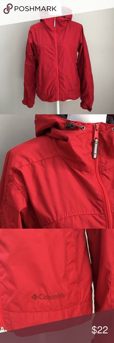 """Columbia Red Packable Waterproof Jacket Nice hooded packable jacket in GUC. Two snap hand pockets and one inside zip pocket. There is slight chipping of the zipper pull.   Material - Shell and lining 100% nylon  Approximate Measurements -  Armpit to armpit - 21-1/2"""" Armpit to hem - 14""""  T9 Columbia Jackets & Coats"""