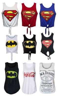 Pretty Girls with Batman Shirts | Ladies Womens Girl Superman Batman Logo Printed Crop Top T Shirt Vest ...