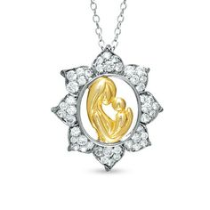 Lab-Created White Sapphire Motherly Love Pendant in Two-Tone Sterling Silver