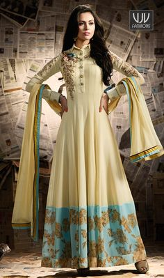 Awesome Cream Color Georgette Anarkali Designer Suit  Make an adorable statement in this cream color georgette designer anarkali salwar suit. This beautiful attire is showing some amazing embroidery done with resham, patch border and embroidered work.