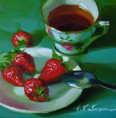"""Daily Paintworks - """"Strong Tea and Strawberries"""" by Elena Katsyura"""