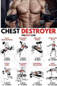 Upper Body Workout Gym, Push Day Workout, Arm Workout Men, Chest And Back Workout, Chest Workout Routine, Gym Workout Chart, Track Workout, Workout Board, Pec Workouts