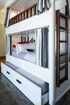 White Bunk Beds, Bunk Beds Built In, Bunk Bed With Trundle, Bunk Beds With Stairs, Cool Bunk Beds, Kids Bunk Beds, Toddler Boy Beds, Bunk Rooms, Bunk Bed Designs