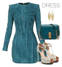"""blue tosca dress"" by freshdee on Polyvore featuring Balmain, Fendi and Kenneth Jay Lane"