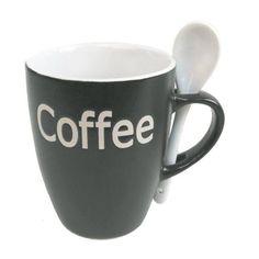 Mug coffee avec cuillère en grès - 35 cl - Gris anthracite