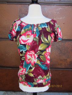 LUCKY BRAND Wm's Size Med S/S Mena Tropical Floral Smock Bottom Top $49.50 NWT #Lucky #KnitTop #Multi