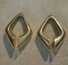 NEW triangle ear weights/earrings BRASS by Trashedandill on Etsy