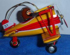 Vintage ZZ Tin BiWing Airplane & pilot Rotating propeller & wheels Ornament  D10 #ZZ #none
