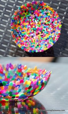 Meaningful Mama: Day #202 Plastic Perler Bead Bowls...single layer in ovensafe bowl...sprayed with cooking spray...  oven set 375   for appox. 12-14 minutes Easy Perler Bead Patterns, Melty Bead Patterns, Beading Patterns, Hama Beads 3d, Pearler Beads, Fuse Beads, Fun And Easy Diys, Easy Diy Crafts, Fun Crafts For Girls