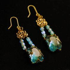 Brass Filigree Wrapped Vintage Blue Glass Stone and Crystal Earrings | FineAndDandy - Jewelry on ArtFire