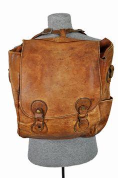 Antique Leather Mail Bag | goodbye heart vintage: vintage leather messenger bag / back pack