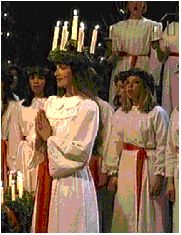 One girl is chosen to play the part of Santa Lucia at the Swedish celebration in Lindsborg, Ks.