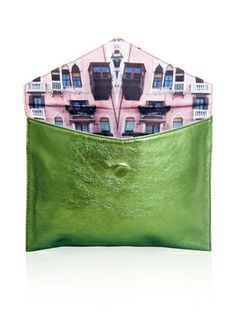 Venezia Rosa Classic Envelope Clutch - Metallic Green.   Tell me about it: A distinct Venetian-canal inspirtation, the Venezia Rosa print clutch is a timeless piece. Ideal as a dazzling evening bag, the metallic green leather is a guaranteed show-stopper that is efforlessly versatile and a sure conversation starter.  Features:      100% Leather     Interior: Cotton     Magnetic clasp     Designed  made in Australia  Dimensions:      W: 27.5cm     H: 20cm     D: 2cm