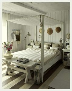 Room of the Day: cottage bedroom--love the striped floor and the bed 7.27.2013