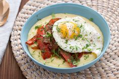 Peperonata & Fried Eggs with Creamy Parmesan Polenta. Visit http://www.blueapron.com/ to receive the ingredients.
