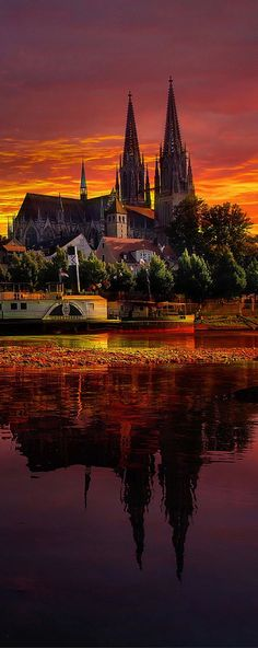 I've been here! But I didn't see this sunset. Wow. Sunset in Regensburg, Germany