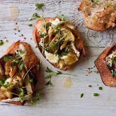 Yellow Oyster Mushrooms on Brie Toast | Sprig of Thyme