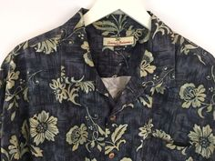 Tommy Bahama Hawaiian Shirt Button Down Blue Gray Floral 100% Silk Size Large #TommyBahama #ButtonFront